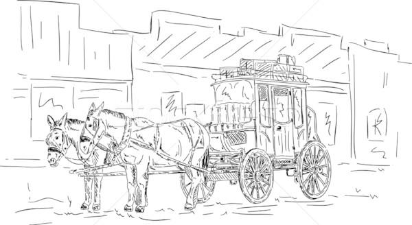 Ló western fuvar vektor kéz rajz Stock fotó © pavelmidi