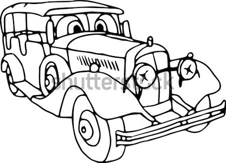 Stary samochód wektora samochodu retro maszyny biały Zdjęcia stock © pavelmidi