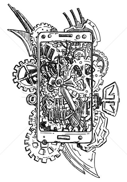 Telefone abstrato vetor engrenagem isolado mão Foto stock © pavelmidi