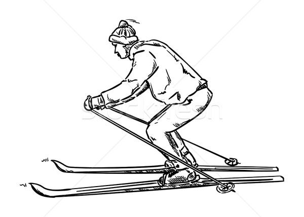 vector - isolated on background - old ski Stock photo © pavelmidi