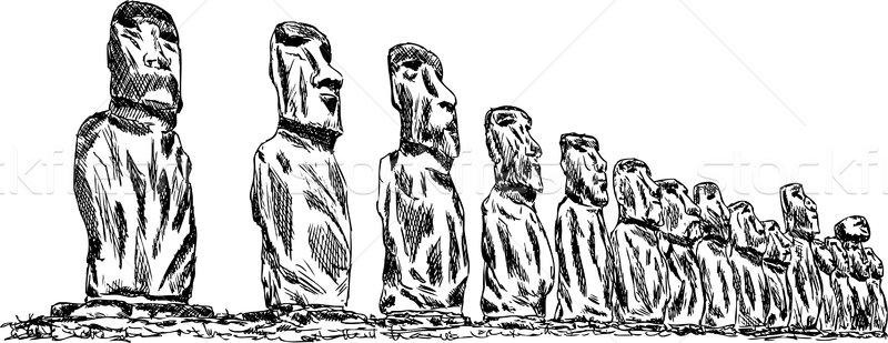 Ilha de Páscoa vetor mão desenhar páscoa grupo Foto stock © pavelmidi