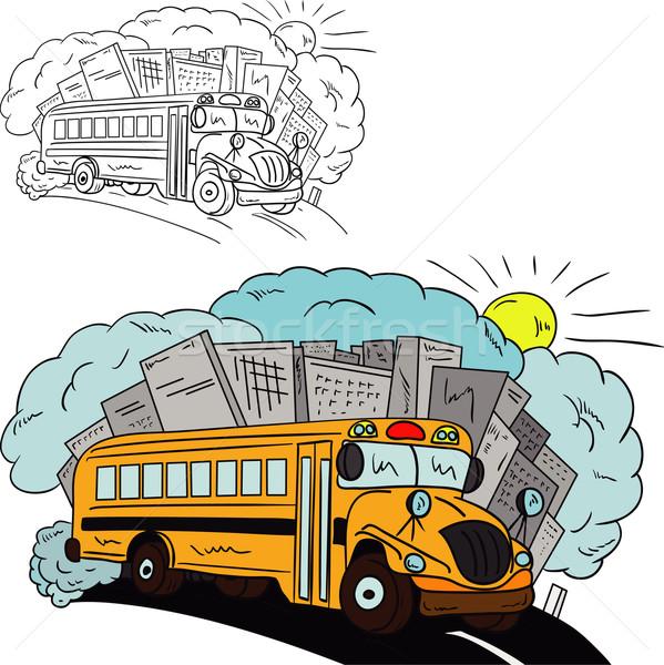 Szkolny autobus wektora autobus odizolowany szkoły słońce Zdjęcia stock © pavelmidi
