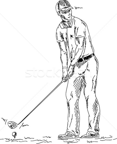 Jogador de golfe vetor golfball grama golfe Foto stock © pavelmidi
