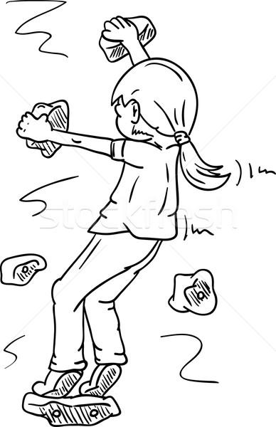 Vecteur fille escalade peinture amusement Photo stock © pavelmidi