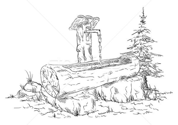 wooden waterhole Stock photo © pavelmidi