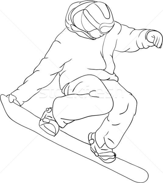 Snowboarder vettore isolato sport neve sfondo Foto d'archivio © pavelmidi
