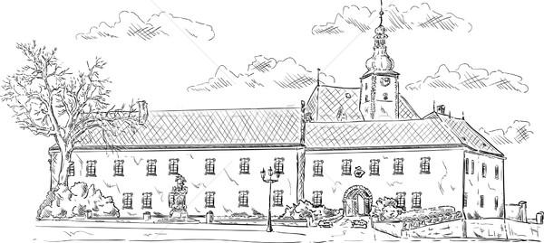 Oude paleis vector nu ceremonieel hal Stockfoto © pavelmidi