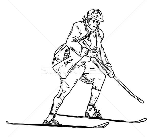 historic skiing Stock photo © pavelmidi