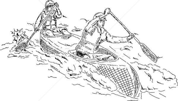 Two canoeists Stock photo © pavelmidi