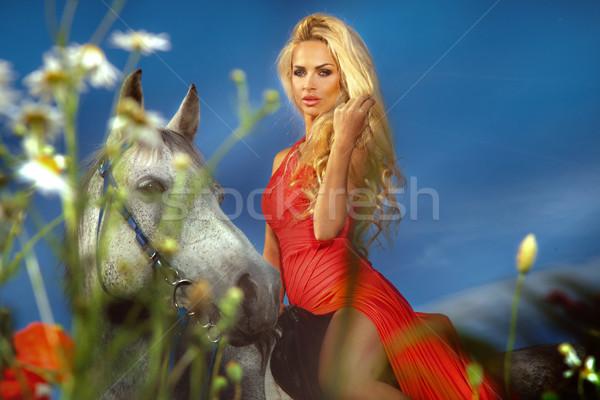 Modny Fotografia atrakcyjny dziewczyna jazda konna Zdjęcia stock © PawelSierakowski