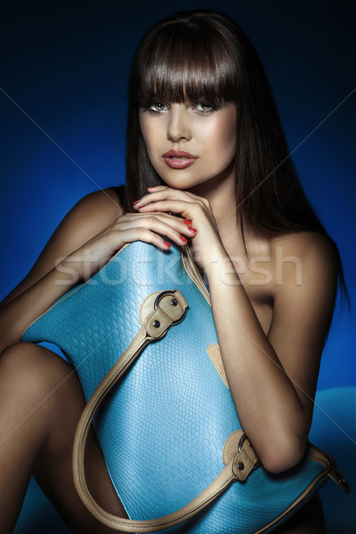 Piękna dziewczyna worek portret młodych piękna brunetka Zdjęcia stock © PawelSierakowski