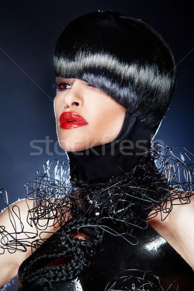 Portrait belle femme mode coiffure cheveux noirs modernes Photo stock © PawelSierakowski