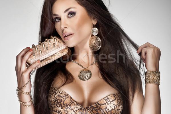 Piękna brunetka kobieta długo zdrowych włosy Zdjęcia stock © PawelSierakowski
