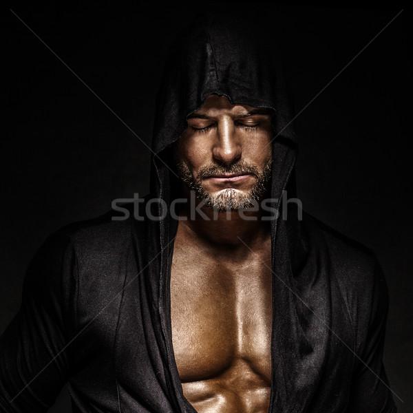 Portré férfi jóképű férfi csukott szemmel visel arc Stock fotó © PawelSierakowski