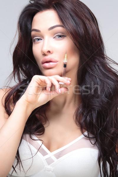 Portret atrakcyjna kobieta atrakcyjny młoda kobieta kosmetycznych wstrzykiwań Zdjęcia stock © PawelSierakowski
