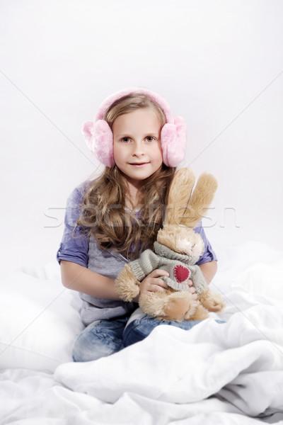 Cute dziewczynka maskotka królik biały Zdjęcia stock © PawelSierakowski