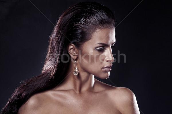 Moda brunetka portret piękna kobieta kolczyki Zdjęcia stock © PawelSierakowski