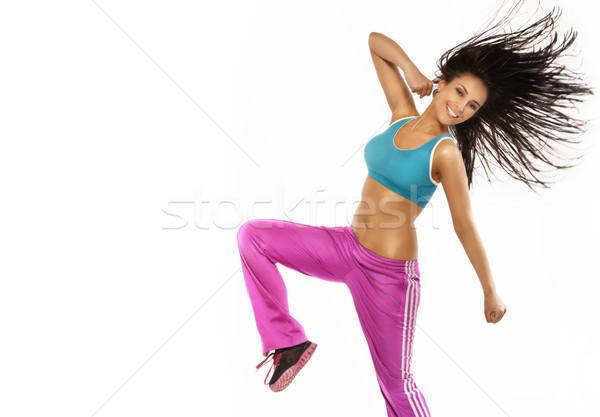 Szczęśliwy kobieta fitness skoki perfect body młodych brunetka Zdjęcia stock © PawelSierakowski