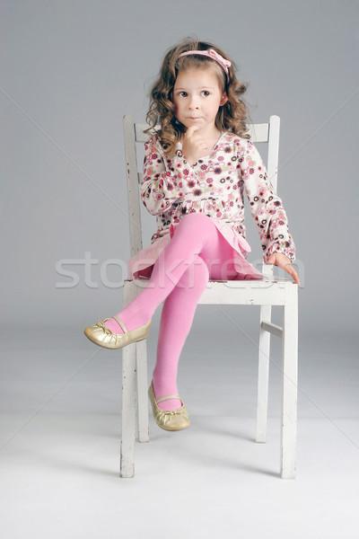 Portret piękna mały zamyślony dziewczyna biały Zdjęcia stock © PawelSierakowski