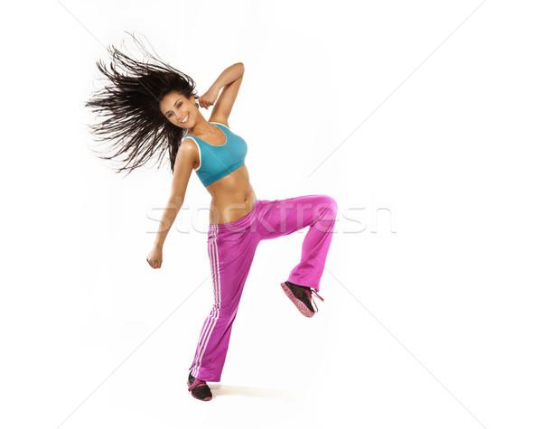 Brunetka uśmiechnięta kobieta doskonały fitness skoki Zdjęcia stock © PawelSierakowski