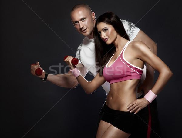 Atrakcyjny dopasować para siłowni Fotografia doskonały Zdjęcia stock © PawelSierakowski