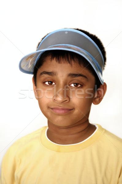 Mosolyog jóképű indiai gyerek képernyő mosoly Stock fotó © pazham