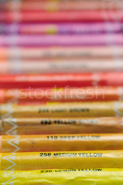 Crayons crayon fond orange vert Photo stock © pazham