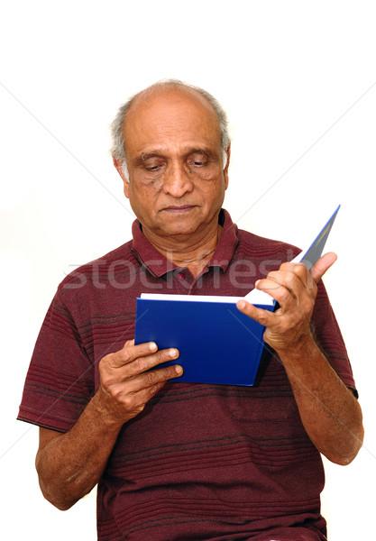 Lecture vieux indian bleu livre papier Photo stock © pazham