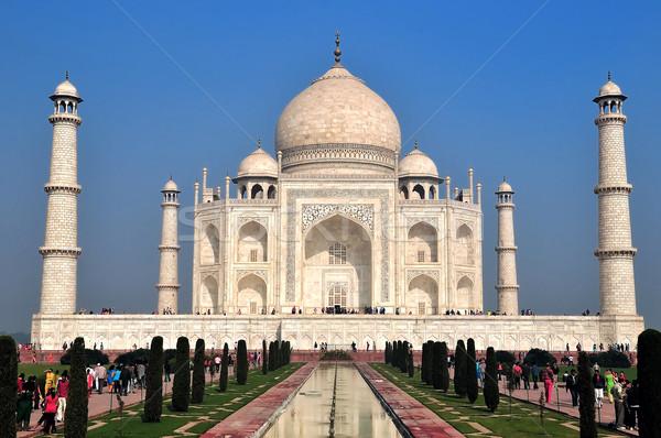Taj Mahal gyönyörű csoda világ fényes napos Stock fotó © pazham