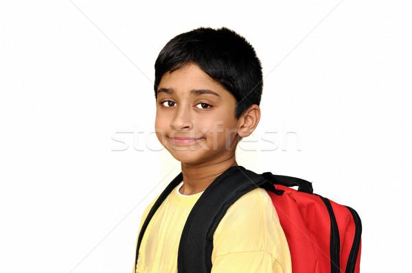 Iskola jóképű indiai gyerek kész arc Stock fotó © pazham