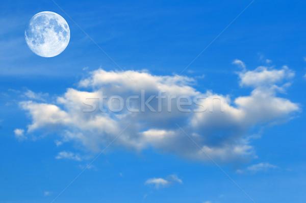 égbolt hold kék ég felhők tavasz nap Stock fotó © pazham