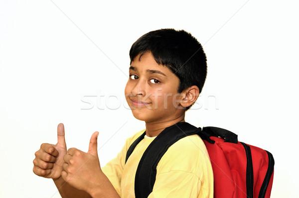 Kész iskola jóképű indiai gyerek boldog Stock fotó © pazham