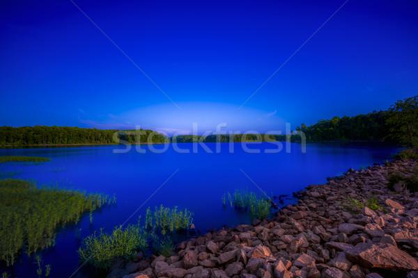 Tükröződések kövek fák alkonyat tavasz nap Stock fotó © pazham