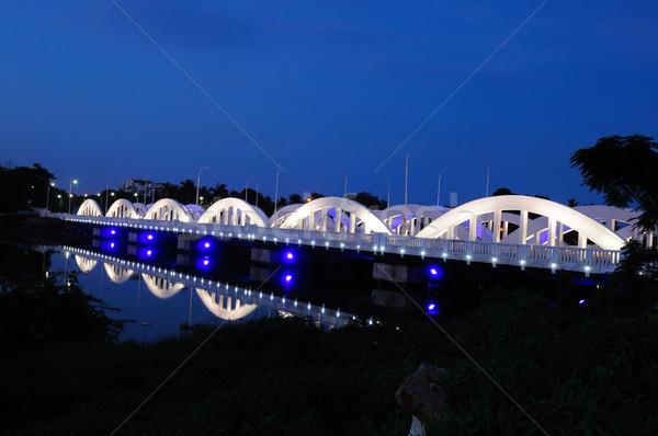 Híd naplemente űr sziluett vakáció új Stock fotó © pazham