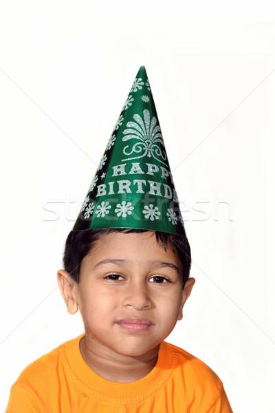 Boldog születésnapot jóképű indiai gyerek ünnepel mosoly Stock fotó © pazham