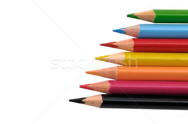 Ceruzák színes izolált fekete hát föld Stock fotó © pazham