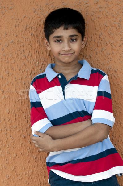 улыбаясь красивый индийской Kid из двери Сток-фото © pazham