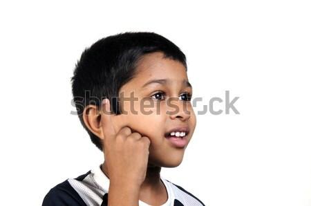 思考 ハンサム 小さな インド 子供 少年 ストックフォト © pazham