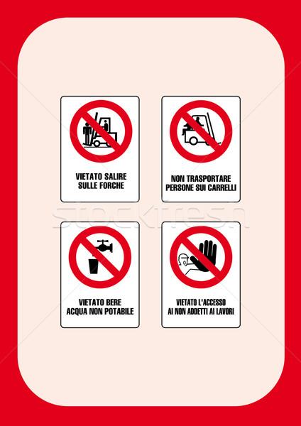 Stok fotoğraf: Kurumsal · işaretleri · yangın · çalışmak · çapraz