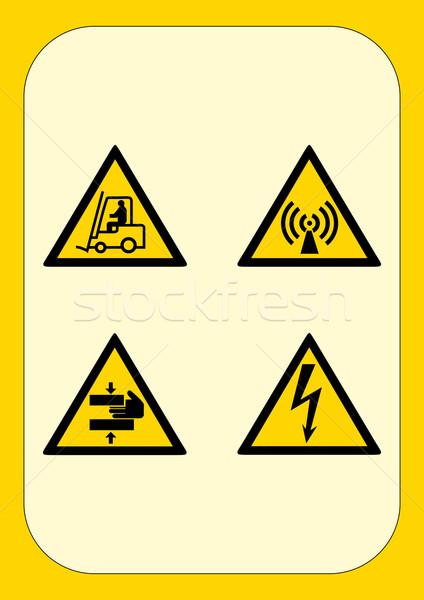 Kurumsal tehlike işareti yangın inşaat çalışmak çapraz Stok fotoğraf © pballphoto