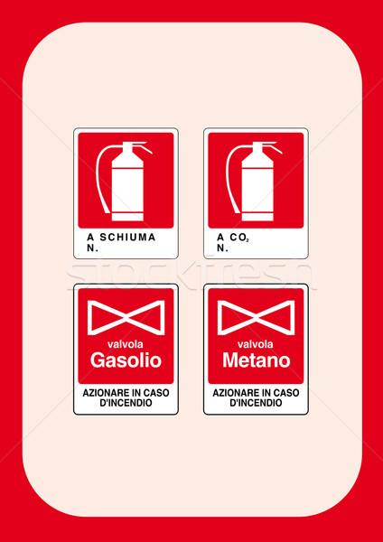 Kurumsal işaretleri yangın çalışmak çapraz Stok fotoğraf © pballphoto