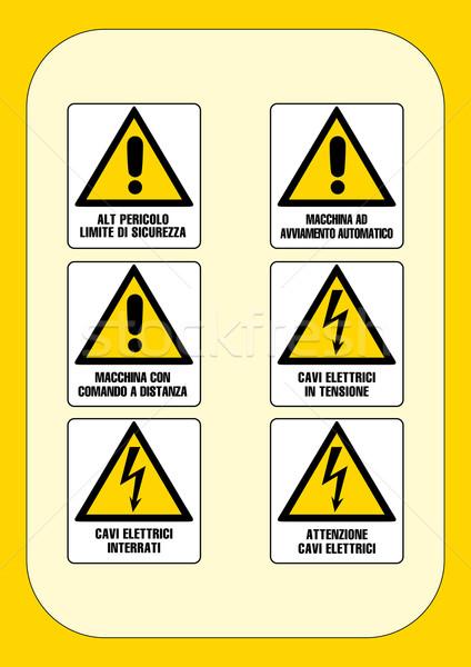 Stok fotoğraf: Kurumsal · tehlike · işareti · yangın · inşaat · çalışmak · çapraz