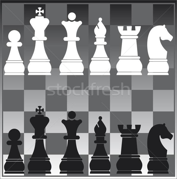 Satranç tahtası vektör satranç siyah beyaz Stok fotoğraf © pballphoto