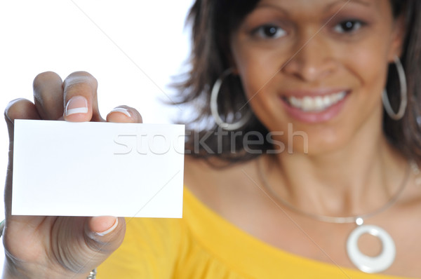 african-american woman with businesscard Stock photo © pdimages