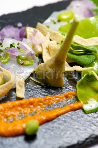 Marinato servito nero alimentare cucina ristorante Foto d'archivio © pedrosala
