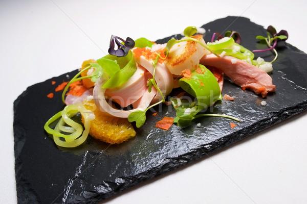 Salada de frango sazonal fruto peixe restaurante vermelho Foto stock © pedrosala