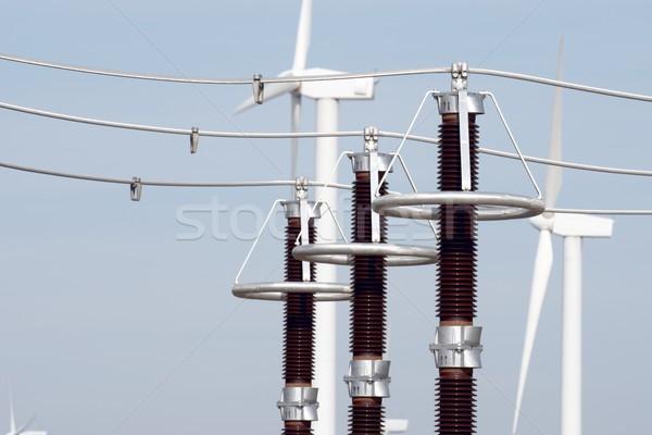 Vent énergie électrique technologie bleu pouvoir Photo stock © pedrosala