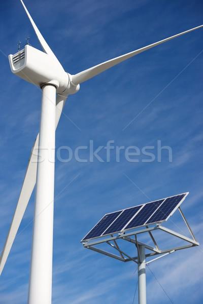 Megújuló energia szélmalom fotovoltaikus panel energia gyártás Stock fotó © pedrosala