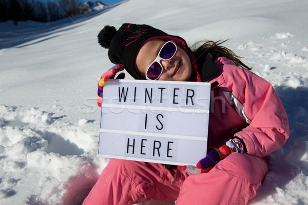 Zimą tutaj slogan dziewczyna kobieta górskich Zdjęcia stock © pedrosala