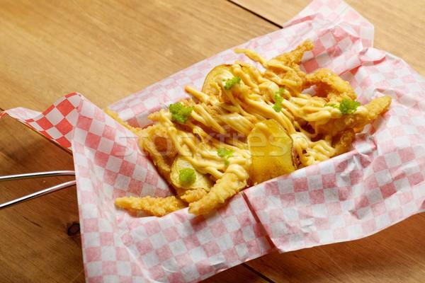 Inktvis chips papier voedsel keuken Stockfoto © pedrosala